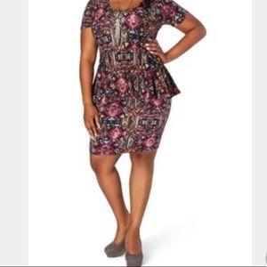 Plus size tribal print neon peplum dress women 3x